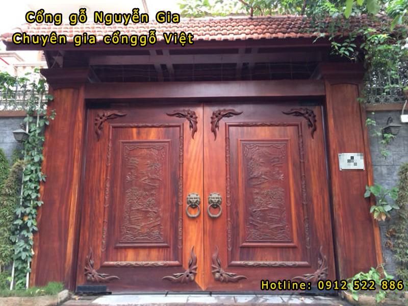 Cổng gỗ biệt thự